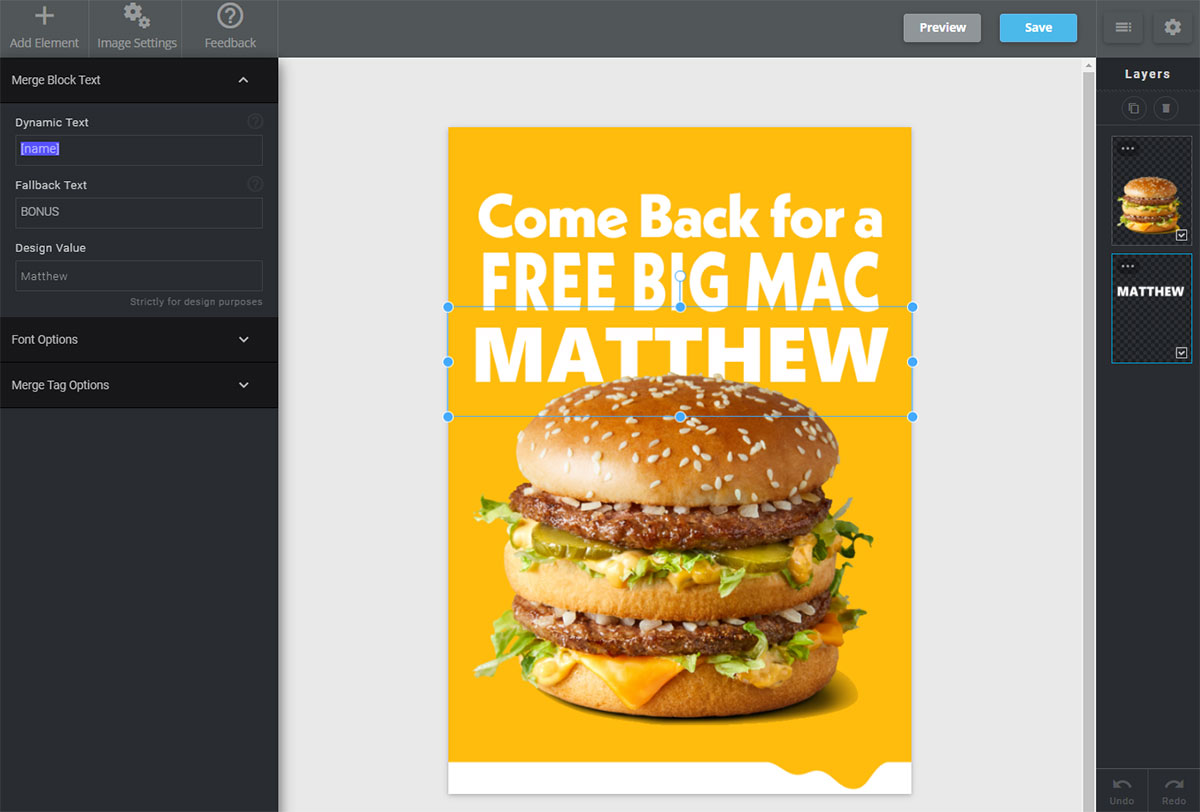 Screenshot of the Nifty Images editor for creating dynamic images in emails