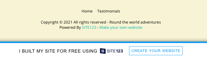 Site123 branding included in your final free landing page