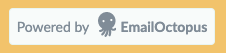 EmailOctopus branding included on their free landing pages