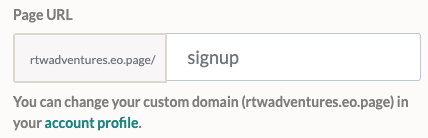 Domain customisation options available in EmailOctopus' free landing page builder