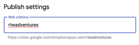 Changing a web address for your landing page in Google Sites