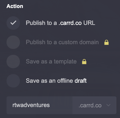 Custom domain options available on the free plan in Carrd