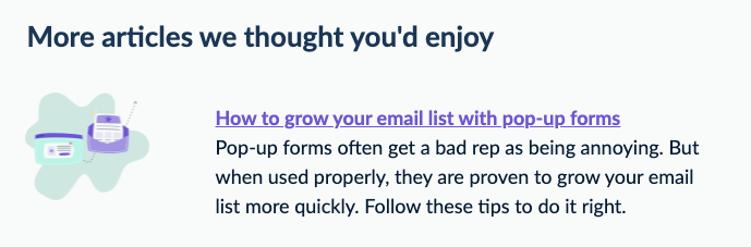 Example of EmailOctopus adding links to images alongside text links