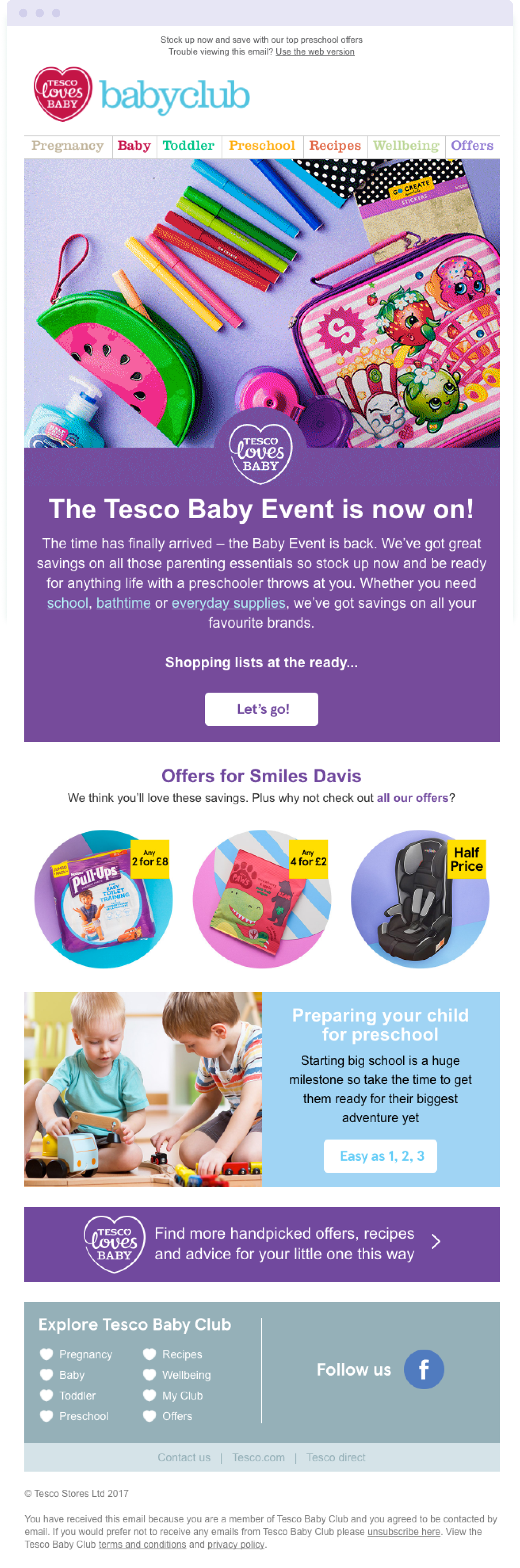 Example of an email using different image sizes to create a strong visual hierarchy