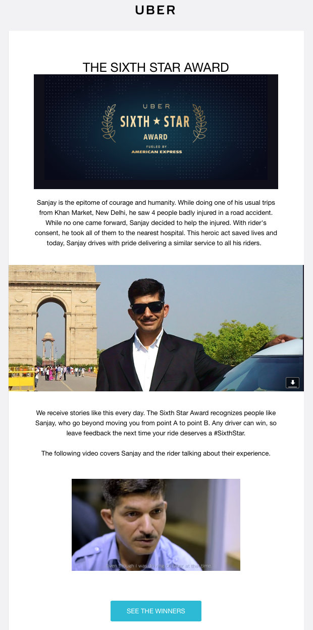 Example of storytelling used in a milestone email from Uber
