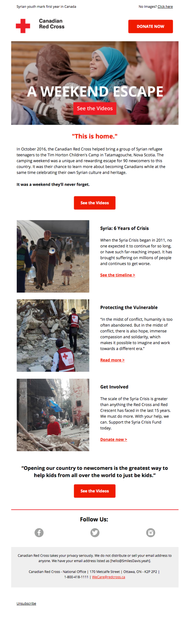 Example of storytelling used in an email marketing campaign from the Canadian Red Cross