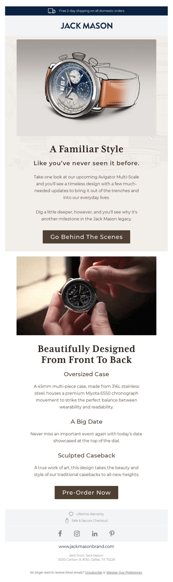 Example of a behind-the-scenes story used to promote a new product from Jack Mason
