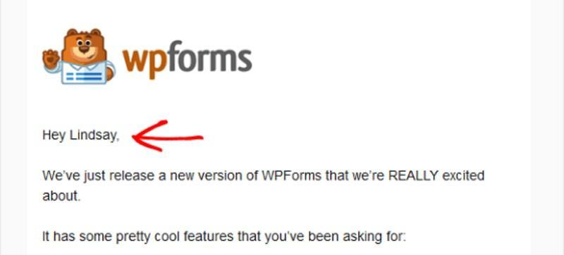Example of personalisation used in an email announcing product updates