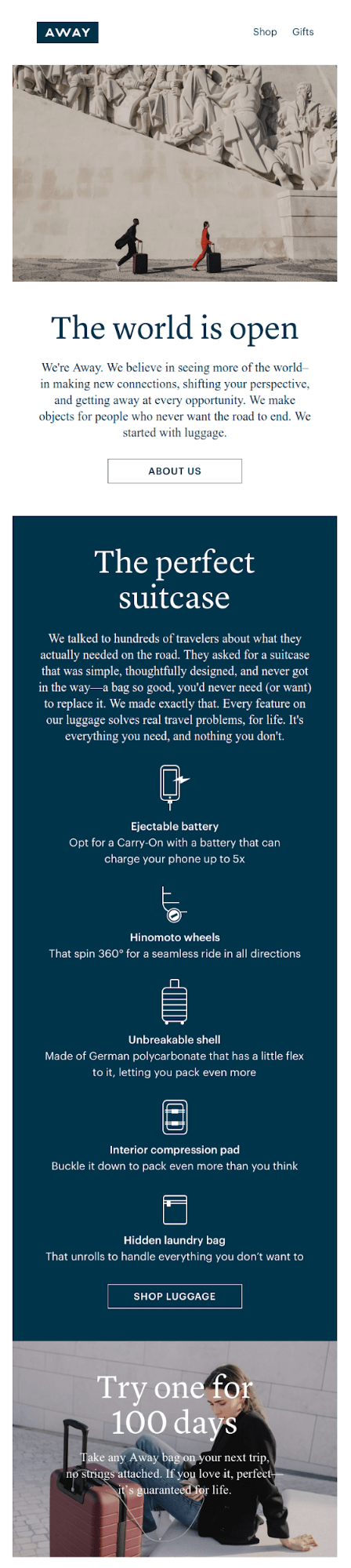 Example of storytelling in an email campaign from AWAY