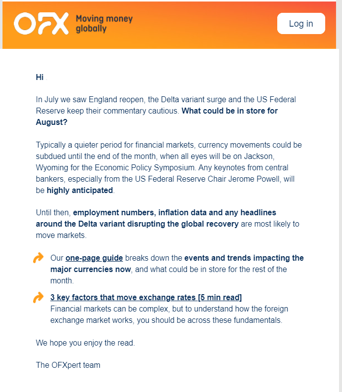 Example from OFX of a reader-friendly format for an editorial newsletter