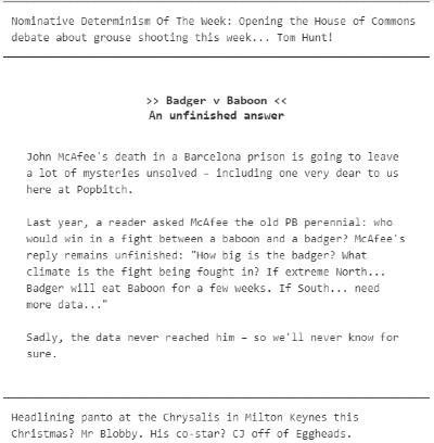 Example of a mobile-optimised editorial newsletter from Popbitch